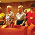 Standing during the blessing ceremony during the first orientation for Providence Candidate-Associates on Oct. 9, 2010, are (left to right): Rachel Ambrose of Palos Verdes Estates, Calif.; Sister Barbara Reder; Sister Marsha Speth; and Joann Kennelly of Gardena, Calif.