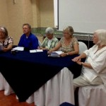 Sister Kathleen Desautels (middle) and members of the U.S. Citizens in Solidarity for the Freedom of Las 17 at a press conference in El Salvador.
